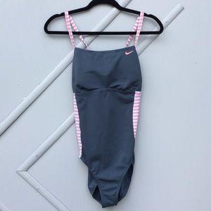 Nike Racerback Gray One Piece Swimsuit Size Large
